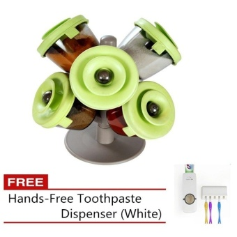 Empire Pop-Up Spice Rack (Green) with Free Toothpaste Dispenser (White)