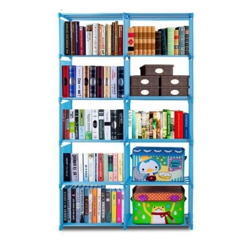 Empire Quality Home Furniture Adjustable Bookcase Storage Bookshelf with 10 Book Shelves