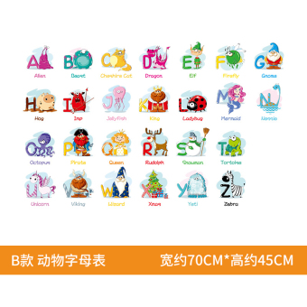 English character children's learning sticker adhesive paper