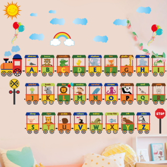 English Lettered early childhood train wall adhesive paper