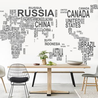 English Lettered world map wall stickers