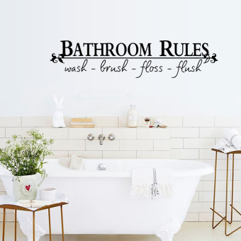 English Letters Bathroom Rules Wall Decal Home Sticker PVC MuralsVinyl Paper House Decoration Wallpaper Living Room Bedroom KitchenArt Picture DIY for Children Teen Senior Adult Nursery Baby - Intl