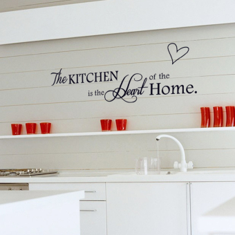 English Letters Kitchen Heart Shape Wall Decal Home Sticker PVCMurals Vinyl Paper House Decoration Wallpaper Living Room BedroomKitchen Art Picture DIY for Children Teen Senior Adult Nursery Baby- Intl