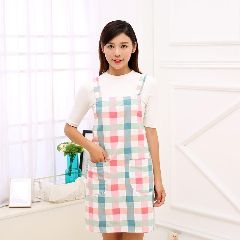 ... EOZY Korean Fashion Womenu0027s Sleeveless Aprons Fresh Plaid  PrintedOil Proof Housewife Kitchen Apron With Pocket ...