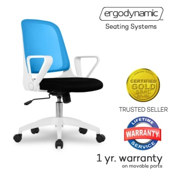Ergodynamic EMC-16BLU Mid Back Mesh Conference Office Chair witharmrests (Blue)