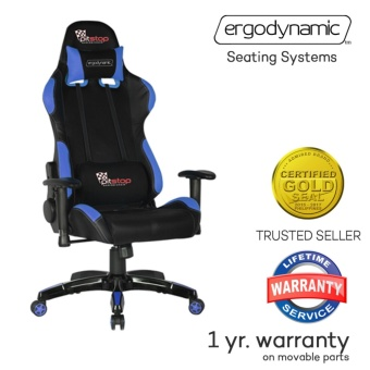 Ergodynamic(TM) F1-BLU LHT Racing Faux Leather Hi Back Swivel andPneumatic Height Adjustment Gaming Office Chair Furniture (Blue)