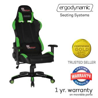 Ergodynamic(TM) F1-GRN LHT Racing Faux Leather Hi Back Swivel andPneumatic Height Adjustment Gaming Office Chair Furniture (Green)