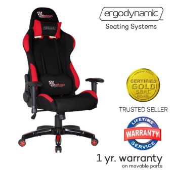 Ergodynamic F1-RED FAB Racing Fabric Hi-Back Swivel and PneumaticHeight Adjustment Gaming Office Chair Furniture (Red)