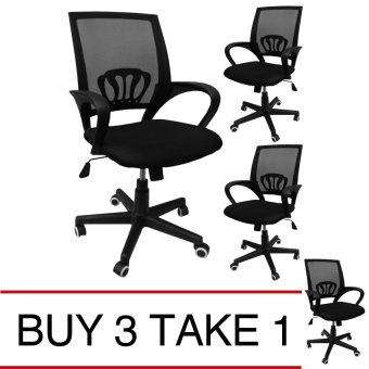 Ergodynamic STAN BLK Tilting Mesh Office Chair (Black) Buy 3 Take 1