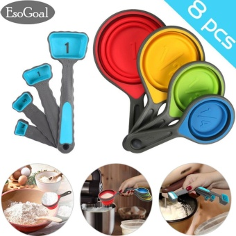 EsoGoal Cups and Measuring Spoons Set, Collapsible Measuring Cups, 8 piece Silicone Kitchen Measuring Set engraved in Metric/US Measurements for dry and liquid ingredients - intl