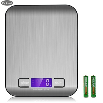 EsoGoal Digital Kitchen Scale Multifunction Food Scale, 11 lb 5 kg, Silver, Stainless Steel - intl