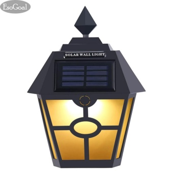 EsoGoal LED Solar Power Wall Light, Waterproof Sensor Outdoor Light for Patio, Deck, Yard, Garden, Driveway, Outside Steps - intl