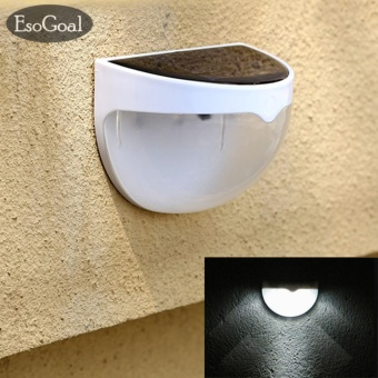 EsoGoal Solar Powered 6 LED Wall Light Fence Waterproof OutdoorGarden Fence Lamp(White) - intl