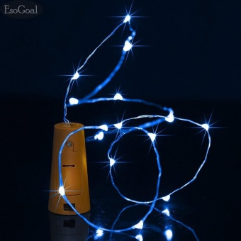 EsoGoal Wine Bottle Cork Lights - 32inch/ 80cm 20 LED Copper Wire Lights String Starry LED Lights for DIY, Party, Decor, Christmas, Halloween, Wedding Decorate Lights(Blue Light) - intl