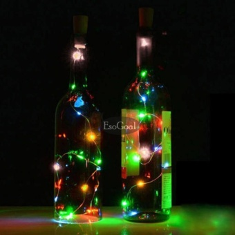 EsoGoal Wine Bottle Cork Lights - 78 inch/ 200cm 20 LED Silver Wire Lights String Starry LED Lights for DIY, Party, Decor, Christmas, Halloween, Wedding Decorate Lights(Colorful Light)