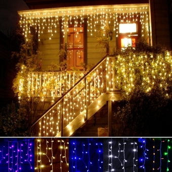 ETOP 3.5m Droop 0.3-0.5m EU Plug Curtain Icicle String Lights 220V Christmas LED Lights Garden Xmas Wedding Party (Blue)
