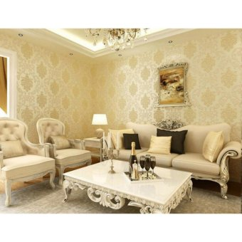 European Luxury Floral Wallpaper 10m 3D Non-woven Wall Paper forHome Decor - intl