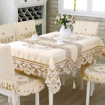 European-style Embroidered Minimalist Tablecloth