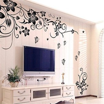Fancy Removable Vinyl Wall Sticker Mural Decal Art Flowers and Vine(Black)