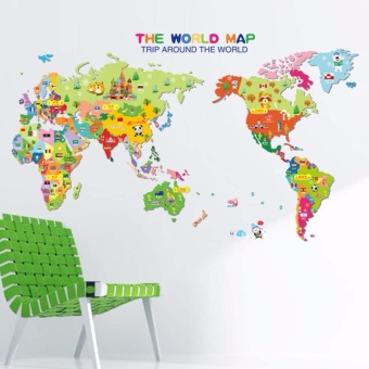 Fancyqube Removable Animal World Map Wall Sticker Vinyl Decal ArtMural Home Decor Wall Stickers for Kids Children Learning - intl