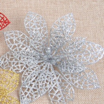 Fang Fang 10PCS Christmas Simulation Flower Xmas Tree Ornaments Fake Flower For Wedding/Party/Home Decor - Silver - intl