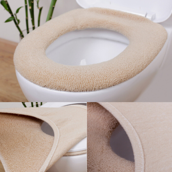 Fang Fang Hot Soft and Warm Thicken Toilet Seats Covers Pure Color Cute New Hot - Yellow&Coffee - intl
