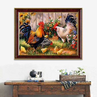 Farm Chicken Coop Cross Stitch Kit Painting DIY Embroidery 5D Diamond Home Decor - Intl