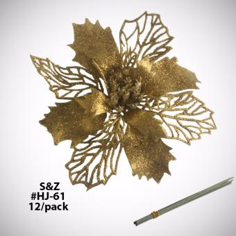 Fashion 12pcs. HJ-61 Glitter Christmas Tree Decorations Poinsenttia - Gold Price Philippines