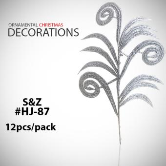 Fashion 12pcs. HJ-87 Glitter Christmas Tree Decorations Ornaments -Silver