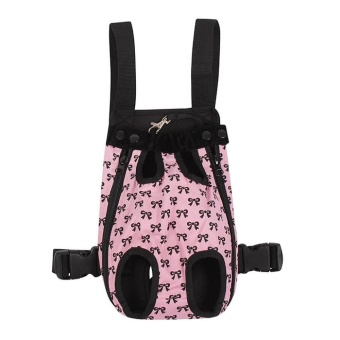 Fashion Bowknots Pattern Pet Dog Doggy Sling Legs Out Design Outdoor Travel Durable Portable Front Chest Pack Carrier Backpack Shoulder Bag For Dogs Cats Puppy Carriers Pet Tote Bag,Pink-L - intl