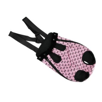 Fashion Bowknots Pattern Pet Dog Doggy Sling Legs Out DesignOutdoor Travel Durable Portable Front Chest Pack Carrier BackpackShoulder Bag For Dogs Cats Puppy Carriers Pet Tote Bag,Pink-L -intl - 2