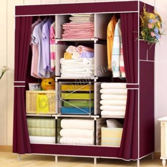 Fashion Cloth Storage Wardrobe wine red-1313