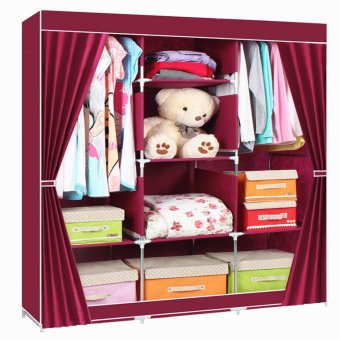 Fashion Cloth Storage Wardrobe wine red