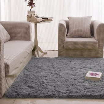 Fashion Fluffy Rugs Anti-Skid 40X60cm Home Bedroom Carpet Floor Mat(Grey)