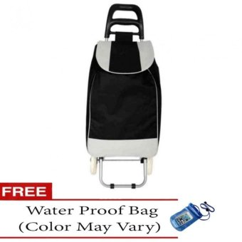 Fashion Folding Wheeled Shopping Trolley Bag (Black) with Free Water Proof Bag (Color May Vary)