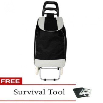Fashion Folding Wheeled Shopping Trolley Bag (Black) with FreeSurvival Tool
