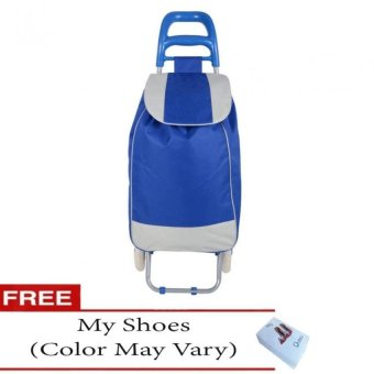 Fashion Folding Wheeled Shopping Trolley Bag (Blue) with Free My Shoes (Color May Vary)