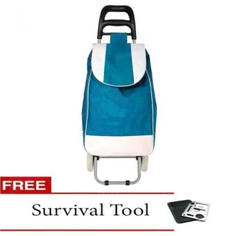 Fashion Folding Wheeled Shopping Trolley Bag (Blue) with FreeSurvival Tool