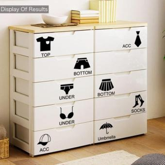 Fashion Girls Diy Clothes Classification Wardrobe Stickers BedroomCabinet Furniture Decals - intl