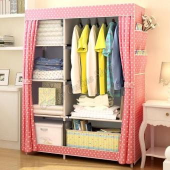 Fashion Multifunction Cloth Wardrobe Storage Cabinets C-77105(Pink)