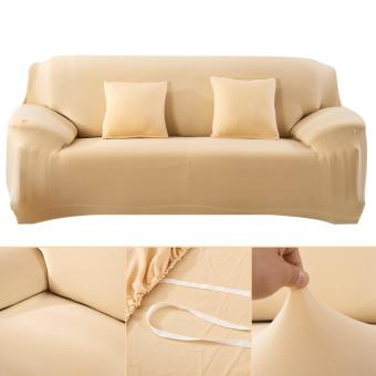 Fashion Slipcover Stretchable Pure Color Sofa CushionCover(Loveseat Beige) - intl