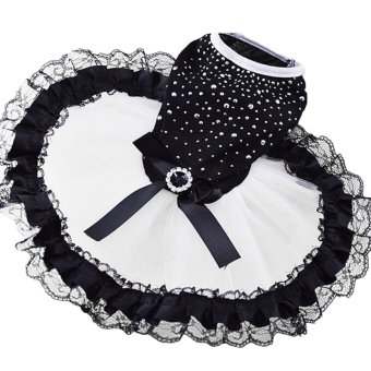 Fashion Sweet Shiny Pet Dog Tutu Skirt Dress Clothing Costume Apparel for Daily Wedding Party Holiday Black And White Size S - intl