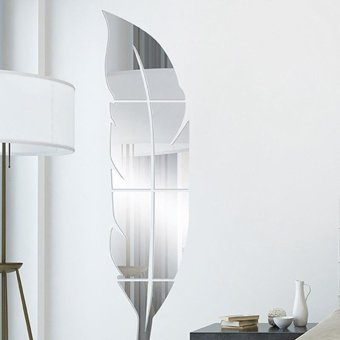 Feather Shaped Fitting Room Silver Mirror Style Sticker - intl - 2
