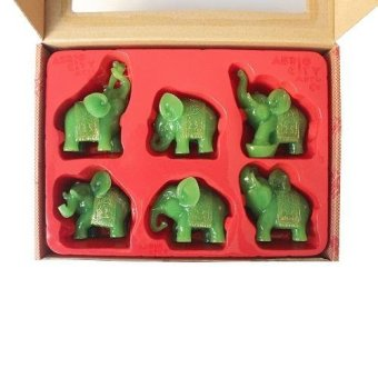 Feng Shui 6ELJ Set of 6 Jade Green Elephant Figurines (Jade)