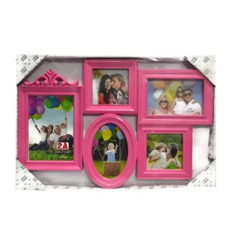 Five Frame With Oval Frame Design Collage Picture Frame (Pink)