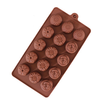Five With Four Different Flowers Chocolate Mould Cake Mold IceLattices - 3
