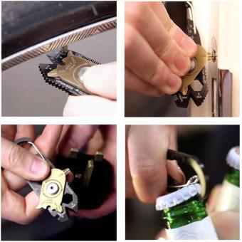 FIXR 20 in 1 Pocket Multi Tool Mini EDC Survival Keychain - 5