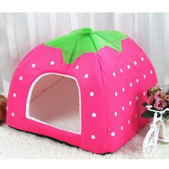 Fleece Dogs Tent Bed Pet House Foldable Soft Warm Strawberry CaveCat Dog Bed Cute Kennel Nest Dog ( S - Pink ) 26X26X28CM - intl