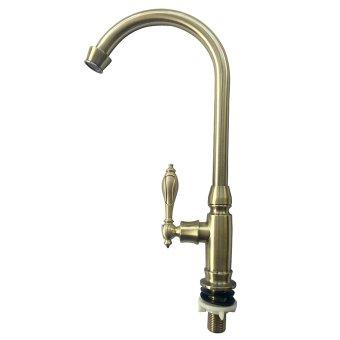 FLEXCO FC-7012 Retro Classic Kitchen Faucet (Gold) - 2