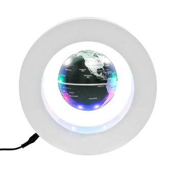 Floating Globe O Shape LED Light World Map Magnetic Levitation HomeDecoration (White+Black)